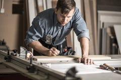 Schrijnwerker die aan professionele werkbank werken stock foto's