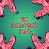 Schrijvend het WebOntwikkelingsteam van de handschrifttekst Concept die een team van ontwikkelaars betekenen die voor een uiteind vector illustratie