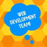 Schrijvend het WebOntwikkelingsteam van de handschrifttekst Concept die een team van ontwikkelaars betekenen die voor een uiteind royalty-vrije illustratie