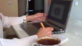 Schrijvend op laptop, vrouwelijke handen stock footage