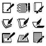 Schrijvend pictogrammen geplaatst voor om het even welk gebruik groot Vector eps10 Stock Afbeelding