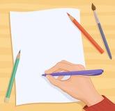 Schrijvende hand stock illustratie