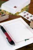 Schrijvende Kerstkaarten stock afbeelding