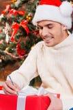 Schrijvende Kerstmisbrief Stock Fotografie