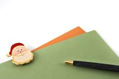Schrijvende Kerstmiskaarten Stock Foto