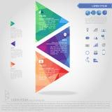 Schritt der Dreieckfahne und der Geschäftsikone Lizenzfreies Stockbild
