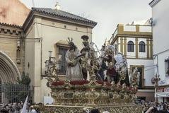 Schritt des Geheimnisses der Bruderschaft von der Bitterkeit, Karwoche in Sevilla stockbild