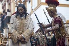 Schritt des Geheimnisses der Bruderschaft von der Bitterkeit, Karwoche in Sevilla lizenzfreie stockfotografie