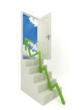 Schritt für Schritt zur offenen Tür Stockbild