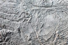 Schritt im Sand Stockbild