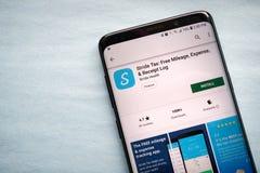 Schritt-steuerfreie Kilometerzahl, Ausgabe u. Empfangs-Klotz App stockfotos