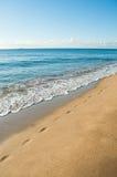 Schritte auf dem sandigen Strand Lizenzfreie Stockfotografie