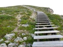 Schritte auf steilem Bergabhang Lizenzfreies Stockbild