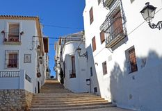 Schritte in der alten Mitte von Altea, Spanien stockbilder