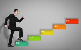 5 Schritte des Geschäftsmannes Stockfoto
