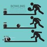 Schritte des Spielens des Bowlingspiel-Symbols Stockfotografie