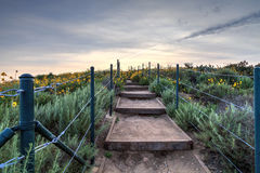 Schritte entlang dem Wanderweg über Dana Point Harbor Stockfoto