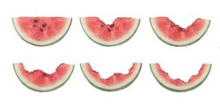 Schritte für das Essen einer Scheibe der Wassermelone Lizenzfreie Stockfotos