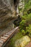Schritte im einzigartigen Felsenberg Adrspasske skaly im Nationalpark Adrspach, Tschechische Republik Lizenzfreie Stockfotografie
