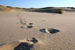 Schritte im Sand Stockfotos