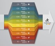 10 Schritte Infographics-Elementdiagramm für Darstellung ENV 10 Pfeilschablone für Geschäftsdarstellung lizenzfreie abbildung