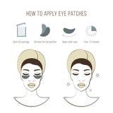 Schritte, wie man Augenklappen anwendet Kosmetische Maske für Auge Vektorillustrationen eingestellt Stockbild