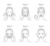 Schritte, wie man Gesichtsmaske anwendet Vektorillustrationsse lizenzfreie stockfotografie