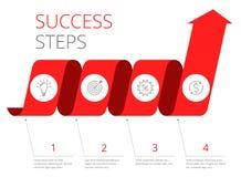 Schritte zum Erfolgsfinanzkonzept Flache Vektorillustration Stockfotografie