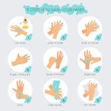 9 Schritte, zum Ihrer Hände richtig zu waschen Moderner Vektor des flachen Designs Stockbild