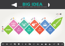 4 Schritte zum modernen Informationsgrafikdesign der Erfolgsschablone Lizenzfreie Stockfotografie