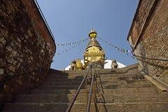 Schritte zum Swayambhunath Tempel in Katmandu, Nepal Stockfotos