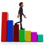 Schrittrückseitenfortschritts-Diagrammkonzept des Mannes 3d Stockfotos