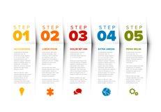 Schrittschablone des Vektorfortschritts fünf Stockbild