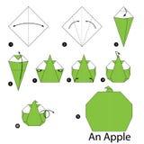 Schrittweise Anweisungen, wie man Origami Apple macht Stockfotos
