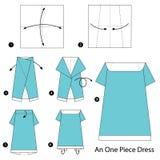 Schrittweise Anweisungen, wie man Origami ein einteiliges Kleid herstellt Lizenzfreies Stockfoto