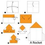 Schrittweise Anweisungen, wie man Origami ein Rocket macht Lizenzfreies Stockfoto