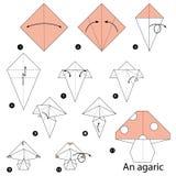 Schrittweise Anweisungen, wie man Origami einen Blätterpilz macht Stockfoto