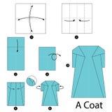 Schrittweise Anweisungen, wie man Origami einen Mantel herstellt Stockfoto