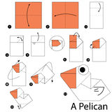 Schrittweise Anweisungen, wie man Origami einen Pelikan macht Lizenzfreie Stockfotografie
