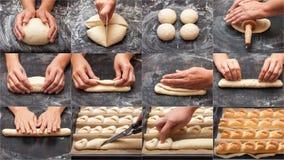 Schrittweise Vorbereitung des Brotes Französisches Stangenbrot Mittel für die Herstellung des Brotes collage Stockfotos