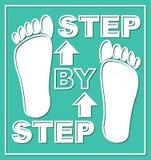 Schrittweises Emblem Darstellungsgraphikelement für Arbeitsprozeß in den Schritten Piktogramm mit weißen Fußspuren und -pfeilen a Stockbilder
