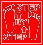 Schrittweises Emblem für Arbeitsflussdarstellung mit Abdrücken auf rotem Hintergrund Modernes flaches Design Lizenzfreies Stockfoto