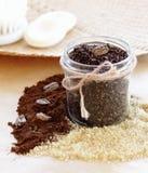 Schrob van koffie en suiker Stock Foto