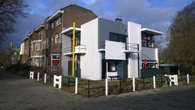 Schroeder-Rietveld house, Utrecht. House designed by famous dutch architect Gerrit Rietveld for Mrs. Truus Schroeder in 1924 Royalty Free Stock Images
