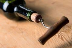 Schroef in cork Royalty-vrije Stock Afbeelding