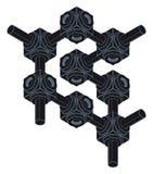 Schroef-noot, isometrische projectie, techniekgrafiek Royalty-vrije Stock Afbeelding