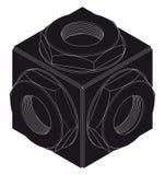 Schroef-noot, isometrische projectie, techniekgrafiek Royalty-vrije Stock Foto's