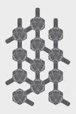 Schroef-noot, isometrische projectie, techniekgrafiek Royalty-vrije Stock Foto