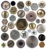 Schroefhoofden, noten, klinknagels Stock Afbeeldingen