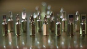 Schroevedraaier glanzende metaal vastgestelde hoofden royalty-vrije stock foto